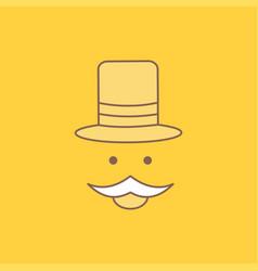 Moustache hipster movember hat men flat line vector
