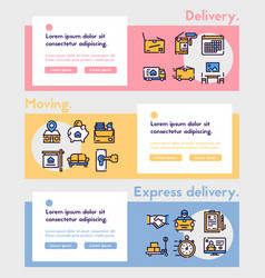 Moving items color linear icons set vector