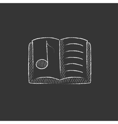 Music book Drawn in chalk icon vector image