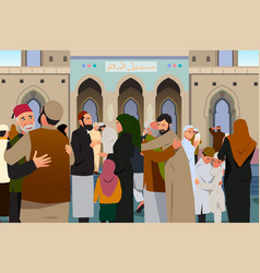 Muslims embracing each other after prayer in vector
