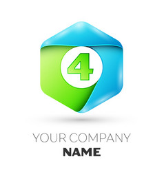 Number four logo symbol in the colorful hexagonal vector