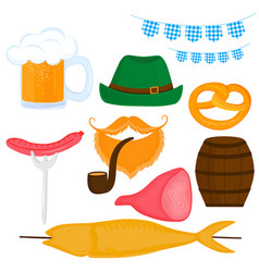 oktoberfest german festival set a beer vector image