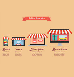 Online shopping concept in flat style infographic vector