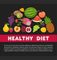 organic fruits poster of healthy food and farm vector image