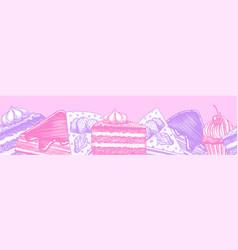 piece cake cream tarts stickers fruit vector image