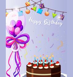 Purple happy birthday card vector