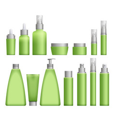 realistic green cosmetics bottles vector image