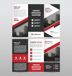 Red triangle business trifold Leaflet Brochure set vector image