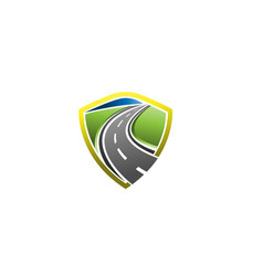 road construction with shield creative symbol logo vector image