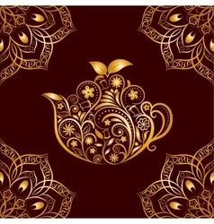 Seamless Gold Floral Teapot and Mandala vector