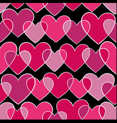 seamless pattern with pink doodling sketch heart vector image