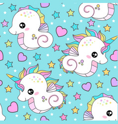 seamless pattern with seahorse and unicorn vector image