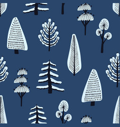 Seamless pattern with various hand drawn winter vector