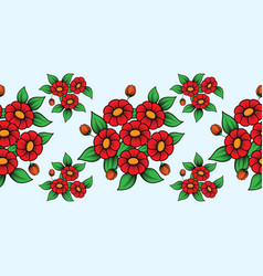 seamless red flowers brush vector image