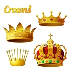 set 3 royal gold crowns isolated on white vector image