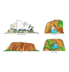 set australia travel landmarks national parks vector image