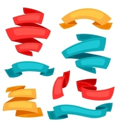 set decorative ribbons and banners in cartoon vector image