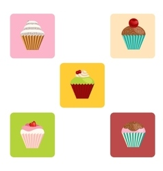 set of cartoon-style cute muffin icons vector image