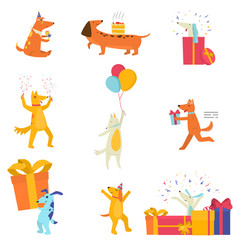 set of festive cute dogs cheerfully celebrating vector image