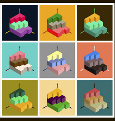 Set of flat icons on stylish background 3d chart vector