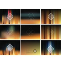 Set of geometric hipster shapes and blur vector image