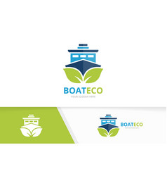 ship and leaf logo combination boat and vector image