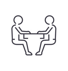 Sitting men conversation line icon sign vector