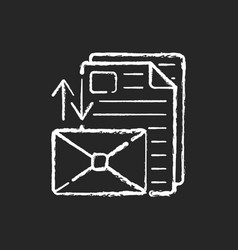 Sorting letters chalk white icon on black vector