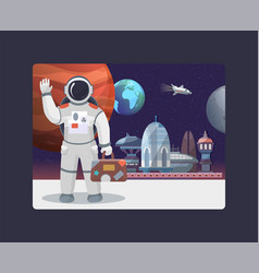 space travel galaxy and cosmos tours to moon vector image