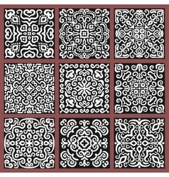 Square Monochrome Decorative Tiles Set vector image