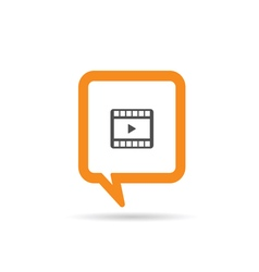Square orange speech bubble with film tape vector