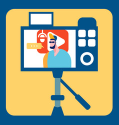 Streamer recording video flat color vector