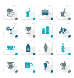 Stylized beverages and drink icons vector