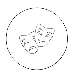 theater masks icon in outline style isolated on vector image