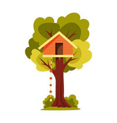 tree house children playground with swing and vector image