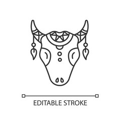 Tribal cattle head pixel perfect linear icon cow vector