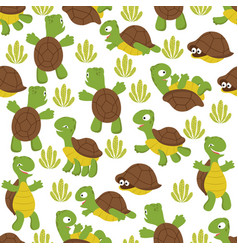Turtle seamless pattern wild cute tortoise print vector
