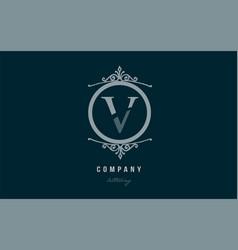 V blue decorative monogram alphabet letter logo vector