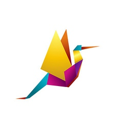 Vibrant colors origami stork vector