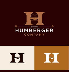 Vintage burger logo design vector