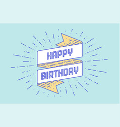 Vintage ribbon with text happy birthday vector