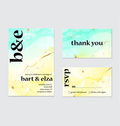 Wedding invitation alcohol ink card calligraphy vector