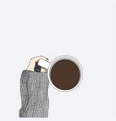 woman wearing a sweater is drinking coffee vector image
