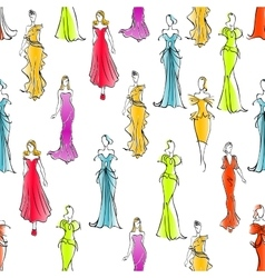 Women in formal wear seamless pattern background vector