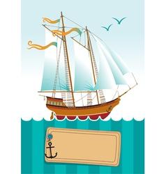 yacht at sea vector image