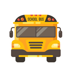 yellow school bus front view flat on white vector image