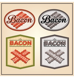 bacon meat vintage labels vector image