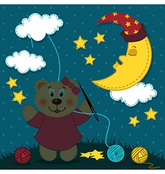 bear girl sews night vector image