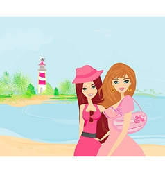beauty travel girls vector image vector image