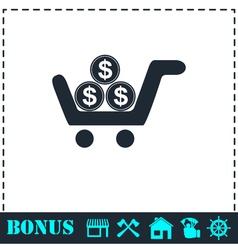 Shopping cart icon flat vector image vector image